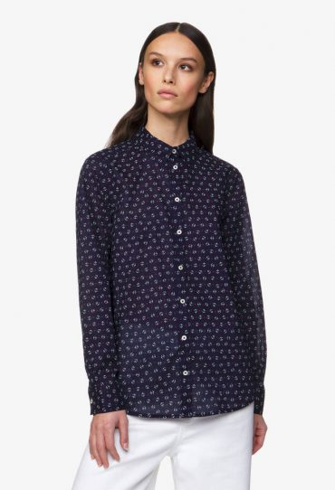 Benetton Bluse mit All-over-Muster dunkelblau