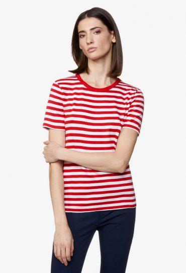 Benetton Gestreiftes T-Shirt mit kurzen Ärmeln rot