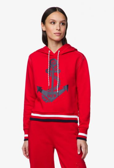Benetton Sweatshirt mit Seemannsprint rot