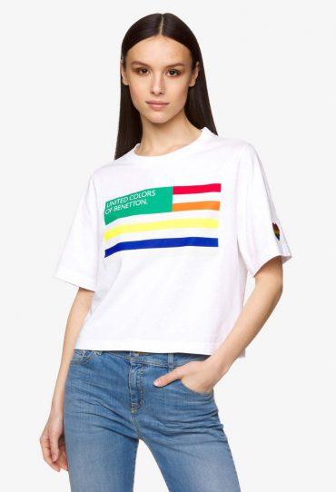 Benetton T-Shirt mit kurzen Ärmeln und Logo