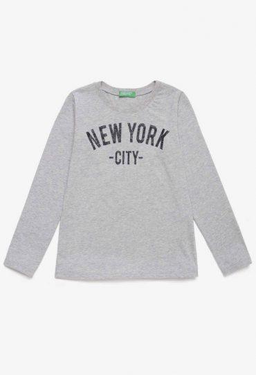 UCB-Bambino Langärmeliges T-Shirt mit Glitter grau