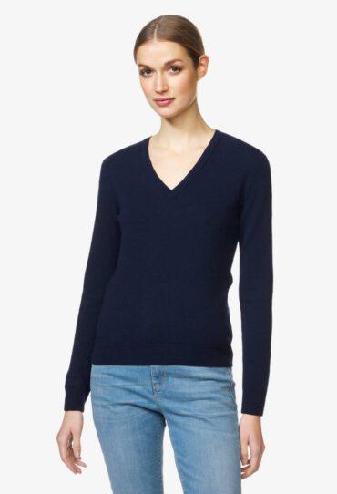 Schurwoll-Pullover mit V-Ausschnitt