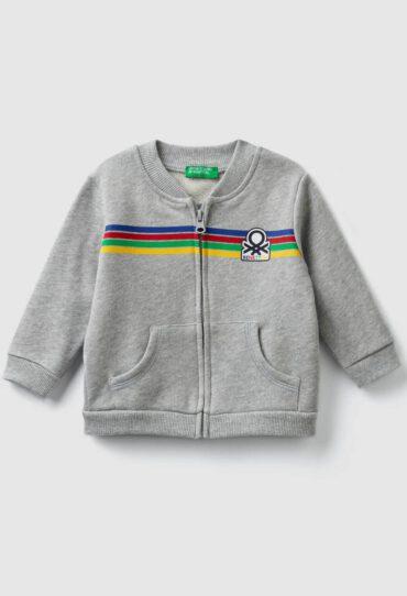 Sweatshirt mit Reisverschluss und aufgedrucktem Logo
