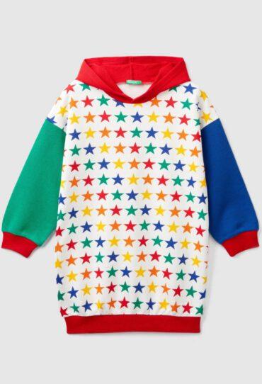Kleid mit Kapuze und Sternenprint