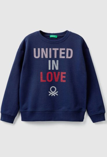 Sweatshirt mit Rundausschnitt und Glitterprint