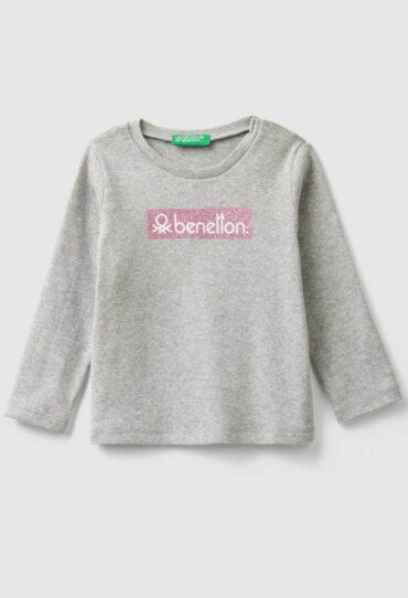 T-Shirt mit glitzerndem Logo und Rippenmuster