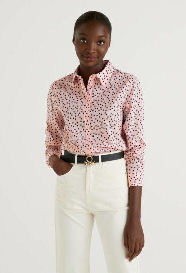 Bluse in 100% Baumwolle mit Floralem Print