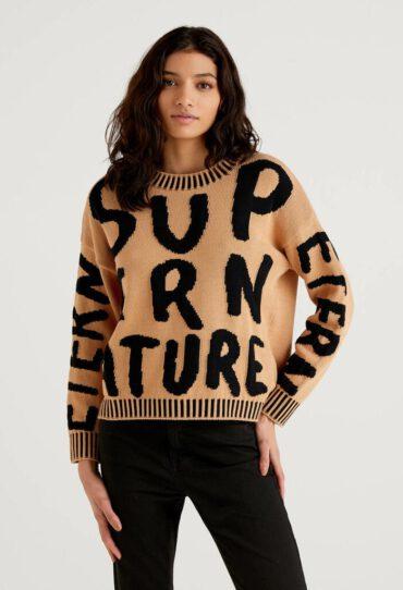 Pullover aus Baumwolle mit Intarsienarbeit