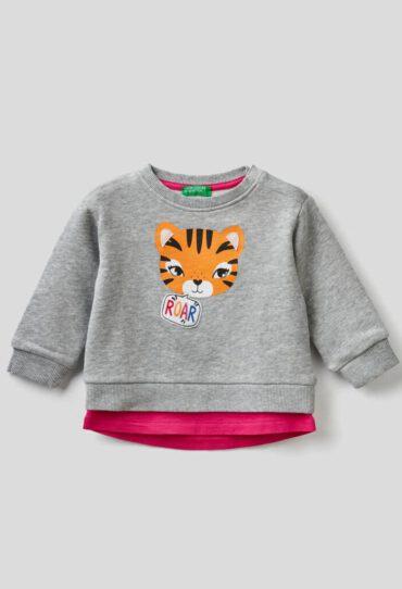 Sweatshirt mit Print und doppeltem Saum unten