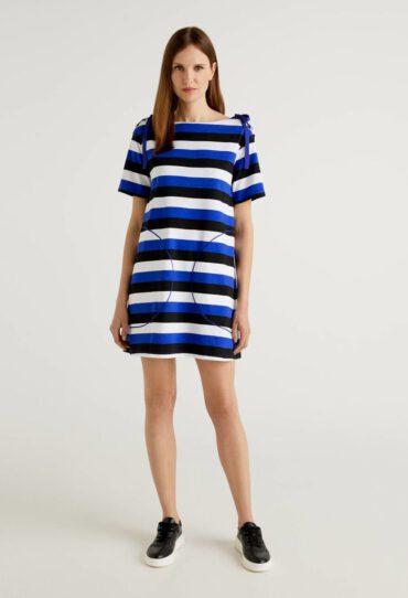 Gestreiftes Kleid aus reiner Baumwolle