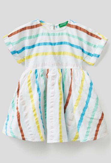 Kleid aus Baumwolle mit Streifenprint